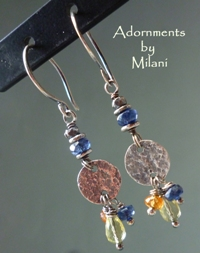 Blue Soiree Earrings Gemstone Colorful Orange Yellow Beaded Handcrafted