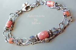 Caloric Confection Bracelet Pink Gray Gemstone Beaded Labradorite Rhodochrosite Matching Jewelry