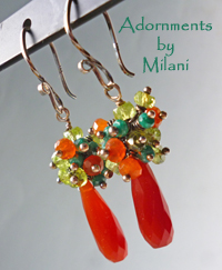 Cayenne Red Orange Green Earrings Gemstone Sterling Silver Beaded Cluster