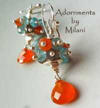 Collision of Color - Orange Aqua Blue Brown Earrings Gemstone Beaded Cluster Sterling Silver Bright Colorful