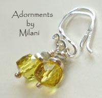 Sunshine Yellow and Gray Earrings Gemstone Sterling Silver Short Simple