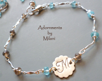 Cocoa Brown & Malibu Blue Bracelet Sterling Silver Monogram Jewelry Gemstone Matching Set