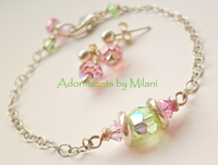 Green and Pink Bracelet Bridesmaid Wedding Party Sterling Silver Pastel Beaded