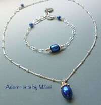 Colonial Blue Necklace Drop Pearl Dark Navy Sterling Silver Maid of Honor Bridal Mother of the Bride