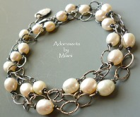 Pearl Soiree Bracelet Sterling Silver Beaded Triple Three Strand