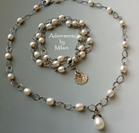 Pearl Drop Soiree Necklace and Bracelet Set for Brides Weddings Sterling Silver