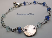 Ocean's Mist II Bracelet Dark Light Blue Gemstones Sterling Silver Bridesmaids Maid of Honor