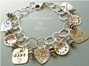 Grandma Charm Bracelet Mixed Shapes Children's Names Large Family Sterling Silver