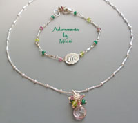 Palm Beach Pink & Green Necklace Bracelet Set Bridesmaid Bridal Quinceanera Jewelry Southern Weddings