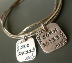 Bible Bangle Bracelet Sterling Silver Christian Jewelry