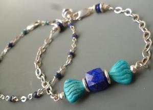 Lulu Blue Bracelet Lapis Lazuli Turquoise Sterling Silver Gemstone Beaded Double Strand