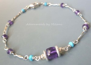 Serendipity - Purple & Blue Amethyst Turquoise Bracelet Gemstone Sterling Silver Beaded