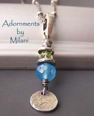 Primavera Necklace - Green Peridot Blue Chalcedony Stones