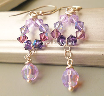 Purple Bridesmaid Earrings Beaded Sparkly Wedding Jewelry