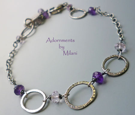 Thunderstorm Bracelet Purple Amethyst Lavendar Gemstone Beaded Artisan Sterling Silver