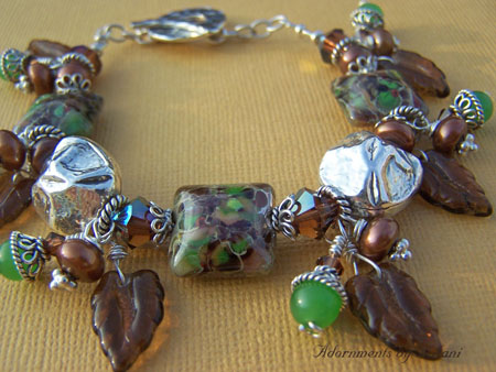 Woodland Flurry  Bracelet - Brown Green Art Glass Lampwork Jewelry
