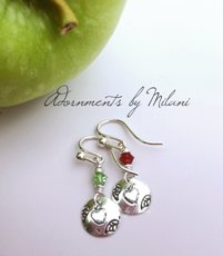 Apple for the Teacher Earrings Appreciation Classroom Helper Aide Jewelry Sterling Silver