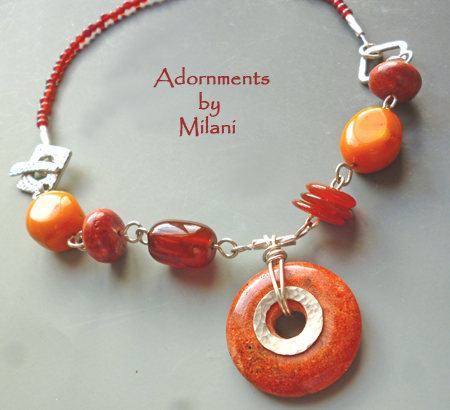 Autumn Splendor- Orange Brown Red Necklace Stones Fall Beaded