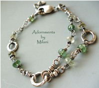 Awaiting Fall Green Bracelet Apatite Amethyst Gemstone Beaded Sterling Silver Half Double Strand