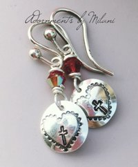 Cross Earrings Christian Catholic LDS Mormon Orthodox Jewelry Sterling Silver Beaded Small