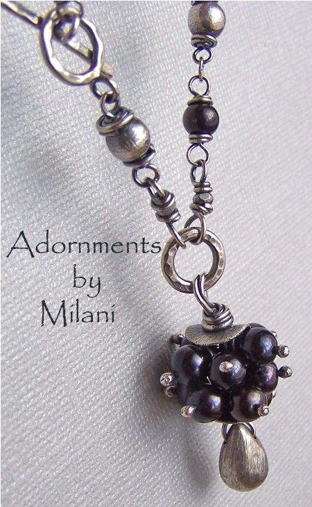 Cumulonimbus- Beaded Black Pearl Necklace Boutique Jewelry
