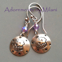Cupcake Earrings for Bakers Foodies Sterling Silver