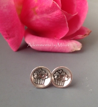 Cupcake Posts /Studs Earrings Sterling Silver for Sweet Daughters & Grands