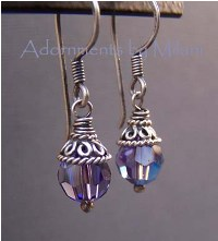 Dazzling Purple Earrings - Rustic Sterling Silver Beaded Sparkly Small Short