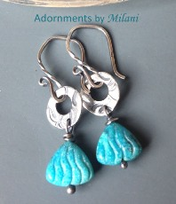 Dreams by the Sea Turquoise Earrings Sterling Silver Beaded