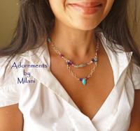 Equilibrium Necklace & Bracelet Turquoise Blue Lapis Ruby Sapphire Stones  Matching
