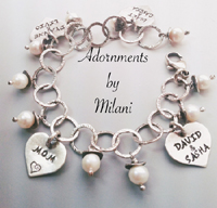 Family Charm Bracelet for Mother Names of Married Children Son Daughter Wife Husband Sterling Silver Artisan Pearls