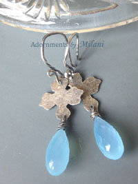 Glacier Blue Earrings Gemstone Beaded Sterling Silver Artisan