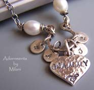 Mimi Grammy Nana Necklace Pearls Grandma Personalized Initials Sterling Silver