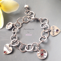 Grandma Charm Bracelet with Birthstone Setting Grandchildren Names Sterling Silver Family