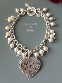 Happy Anniversary Charm Bracelet for Wife Sterling Silver Heart Pearls