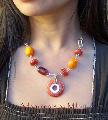 Autumn Splendor- Autumn Splendor - Orange Necklace Red Brown Colorful Stones