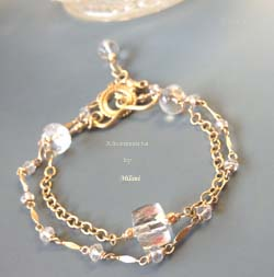 Lilt Natural Crystal Gemstone Gold Bracelet Beaded Chunky Two Strands