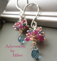 Patisserie - Pink Blue Earrings Gemstones Beaded  Colorful
