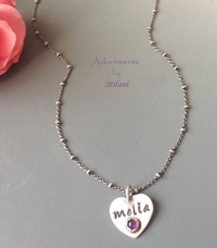 Granddaughter Necklace Teen Birthday Birthstone from Grandma Mom Sterling Silver Name