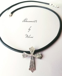 Men's Cross Necklace Sterling Silver Artisan Rustic Leather