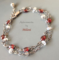 Moonstone Blossom Bracelet Red White Garnet Gemstones Beaded Two Double Strand Sterling Silver