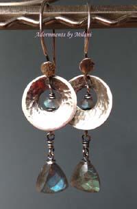 Morning Haze Gray Earrings Sterling Silver Gemstone Labradorite Beaded Hammered Artisan