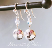 Musician Composer Teacher Student Earrings Sterling Silver Small Beaded