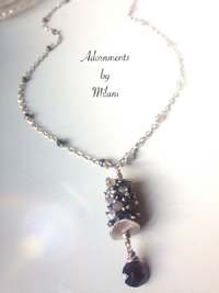 Omega - Black Gemstone Necklace Spinel Gray Labradorite Boutique Jewelry