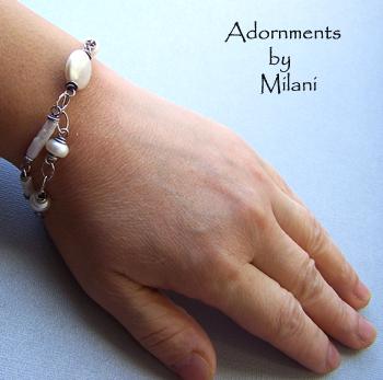 Pearl Medley Bracelet - Freshwater Pearl Bracelet Asymmetrical Eclectic