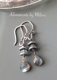 Silver Lining - Gray and Light Blue Earrings Gemstone Labradorite Aqua Sterling Silver Beaded Rustic