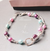 Sprightly Spring Bracelet Aqua Blue Purple Pink Bridesmaid Pearls Multicolor Pastel Beaded