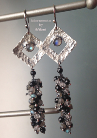 Stargazer Earrings Black Gray Gemstones Beaded Sterling Silver Long Cluster Artisan