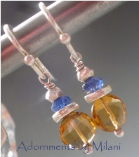 St. Tropez Blue Topaz Amber Brown Earrings Sterling Silver Gemstones Small Lightweight
