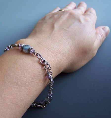 Subtleties Lavender Purple Bracelet Gray Labradorite Matching Earrings Gemstones Beaded
